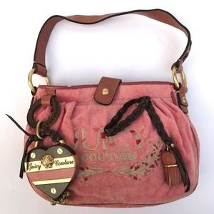 Vintage 90's Juicy Couture Pink Velour Satchel bag